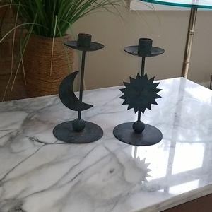 ☀️🌙 Sun & Moon Candle Holders       EUC